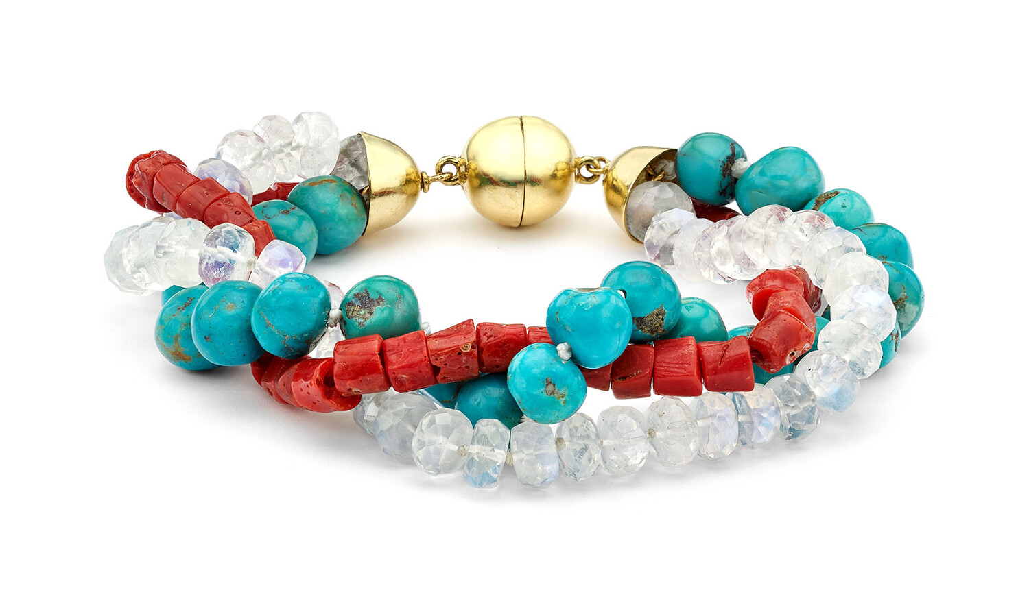 Coral, Turquoise & Moonstone beaded bracelet