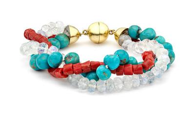 Coral, Turquoise & Moonstone beaded bracelet