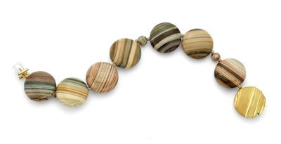 Saturn Chalcedony Beaded Bracelet