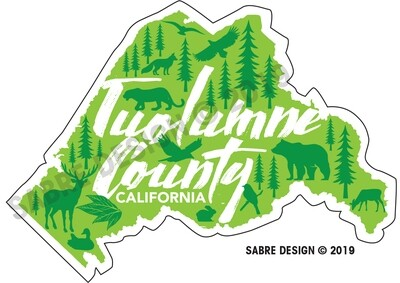 Tuolumne County California Cutout Sticker