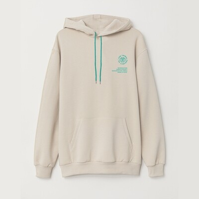 Tribals Inscription Hoodie Bone White/Green