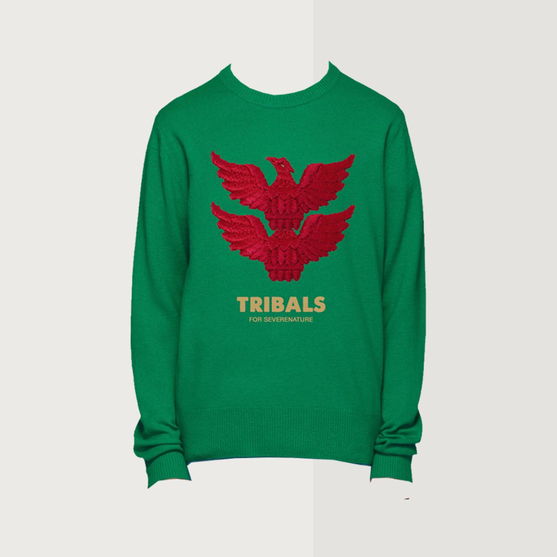 Tribals Knit Inscription Green