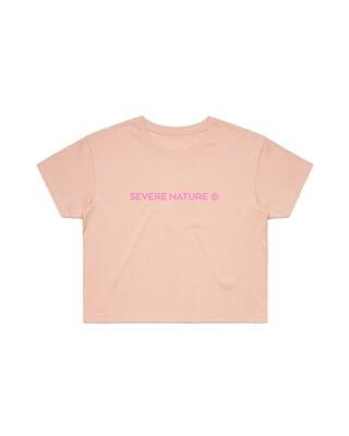 Peach Cropped Logo tee
