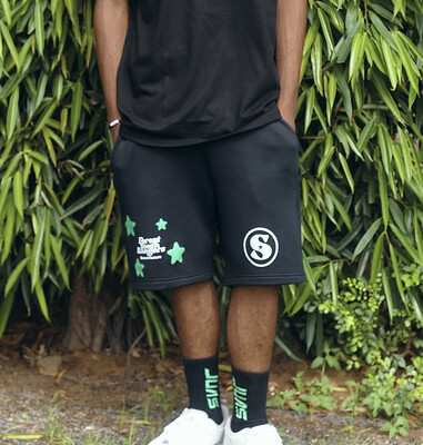 Black Lost Fires Shorts ( Green - White)