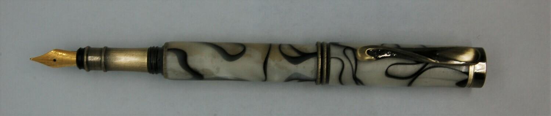 Art Deco 2.0  Fountain Pen - Body color is white/black mottled resin