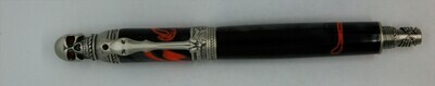 Bone-writer Fountain Pen  Black with red swirls resin.  Hardware is Antique Pewter.