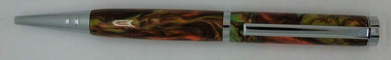 Tech Pen 2.0  - Barrel color Green and Red Flame custom resin