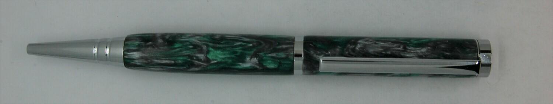 Tech Pen 2.0  - Barrel color Green and Silver Custom Resin.