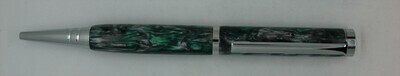 Tech Pen 2.0  - Barrel color Green and Silver Custom Resin.
