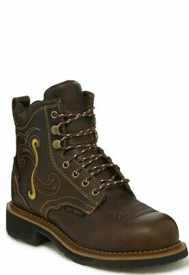 Ladies Justin Work Deanne Lace Up WP CT