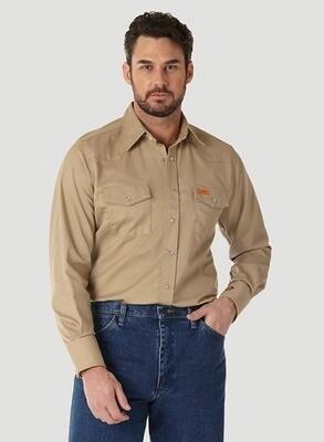 Men's FR Long Sleeve Western Snap Work Shirt in Khaki