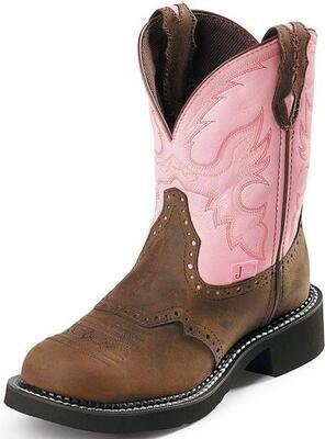 Justin Ladies Gypsy Wanette Pink Steel Toe Work Boot
