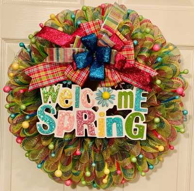 Welcome Spring Pastel Easter Wreath Wall Door Decoration A Touch of Faith