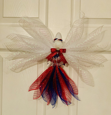 Patriotic Angel Tree Topper Ornament Memorial Day Wall Hanging July 4th Angel Wreath A Touch of Faith