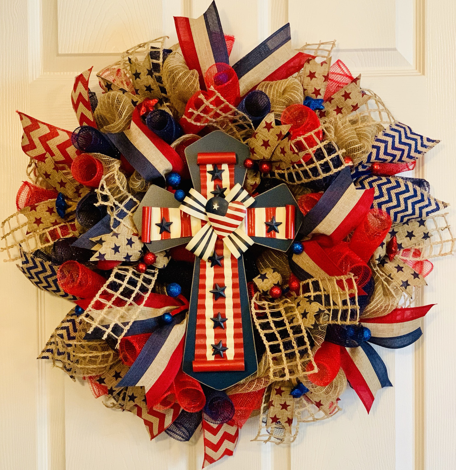 Patriotic Cross, God Bless America Door Wreath, 4th of July Décor, Memorial Day Wreath, A Touch of Faith
