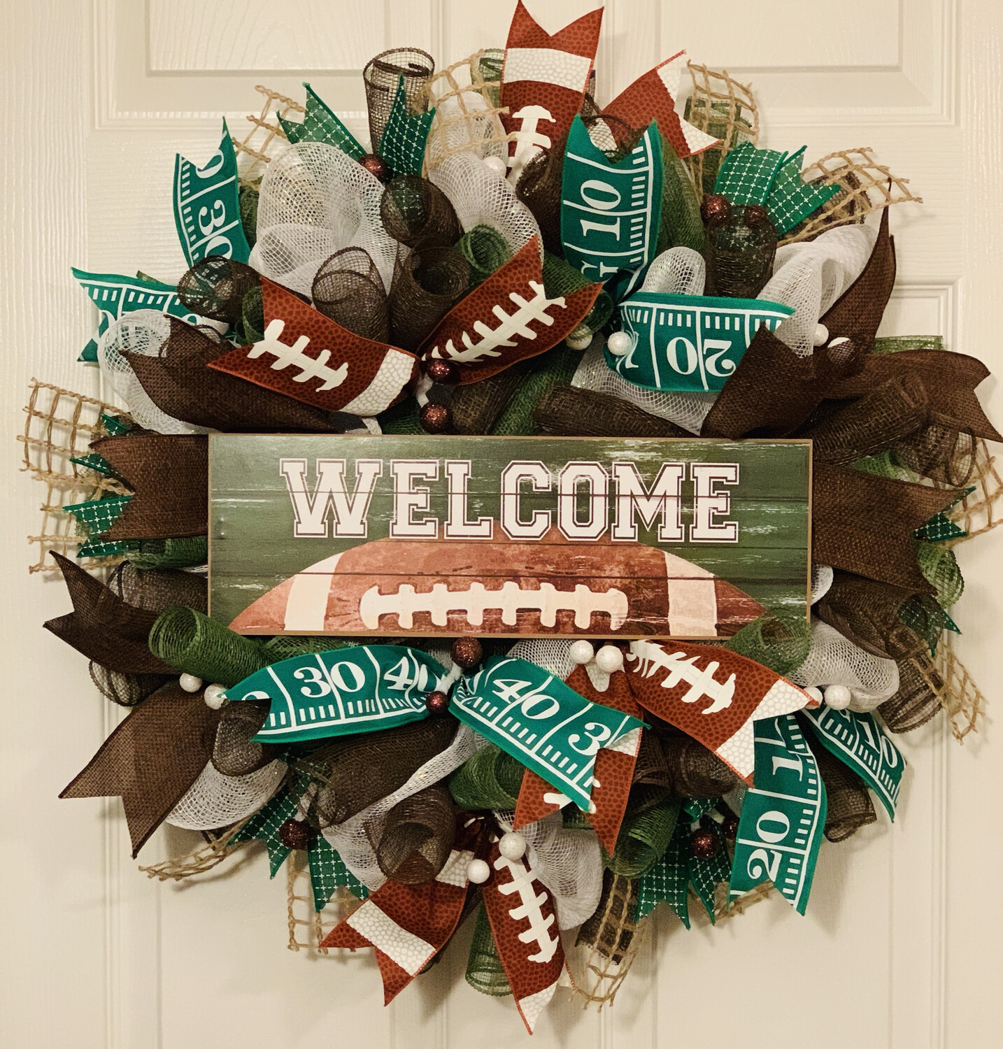Football Welcome Wreath Game Day Door Decor Dads Man Cave Decoration A Touch of Faith