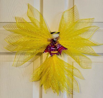 Deco Mesh Angel, Yellow Angel, Angel Tree Topper, Angel Ornament, Angel Wall Hanging, A Touch of Faith