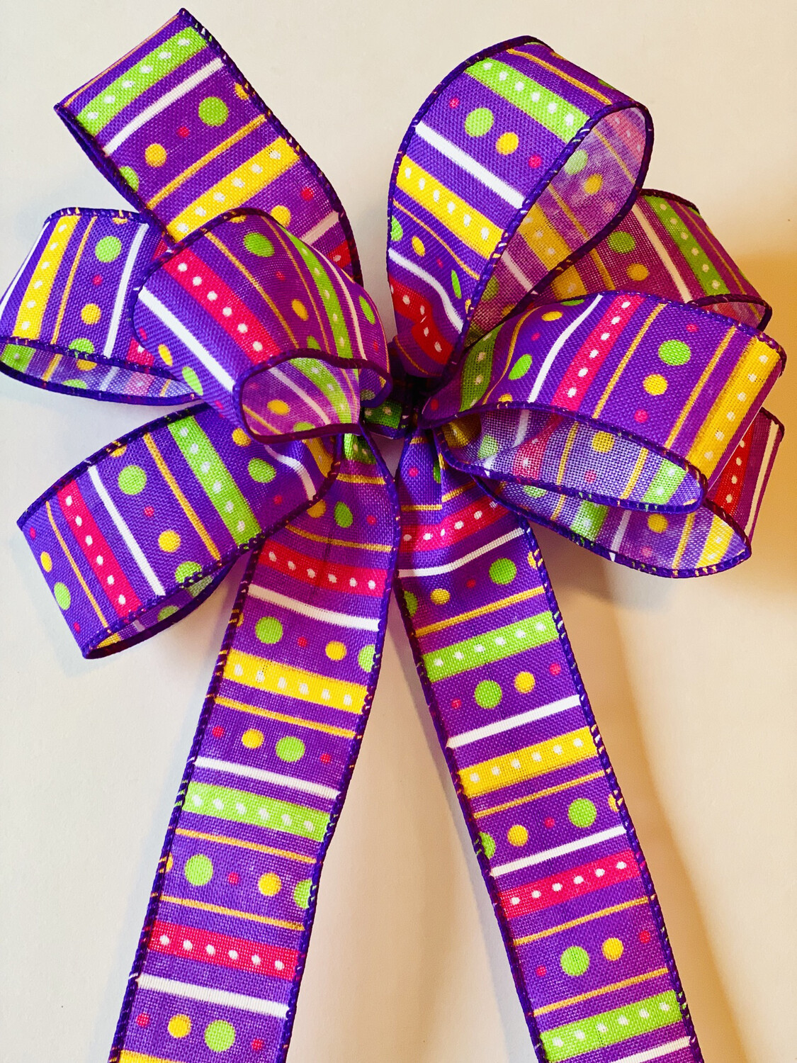 Purple Stripes & Dots Bow Spring Summer Wreath Bow Candle Decoration A Touch of Faith
