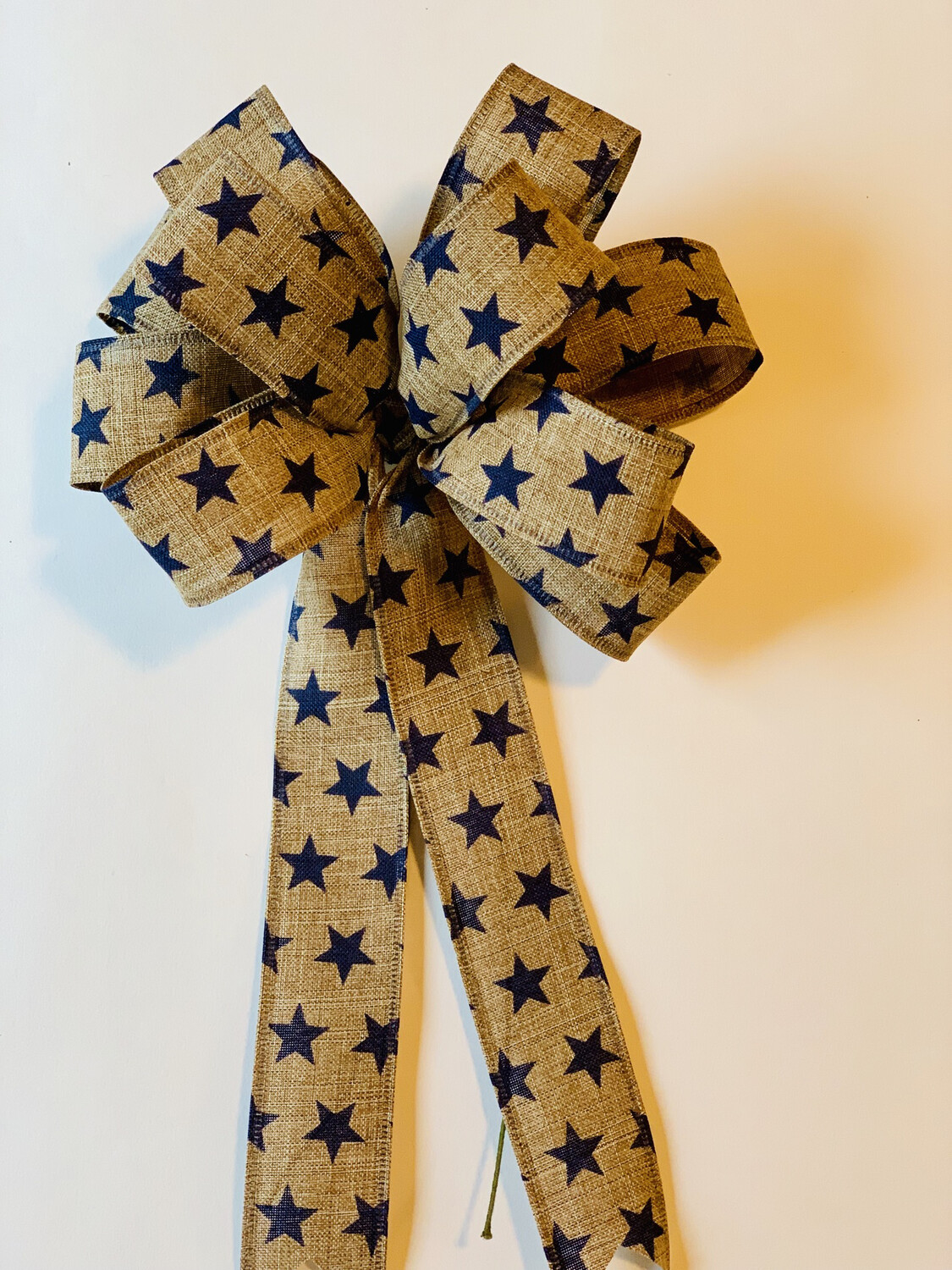 Patriotic Stars Tan Navy Natural Burlap Wreath Bow Candle Decoration A Touch of Faith