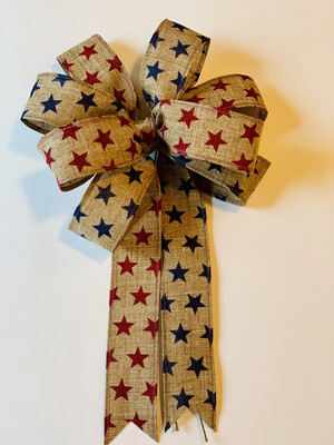 Patriotic Stars Tan Navy Red Natural Burlap Wreath Bow Candle Decoration A Touch of Faith