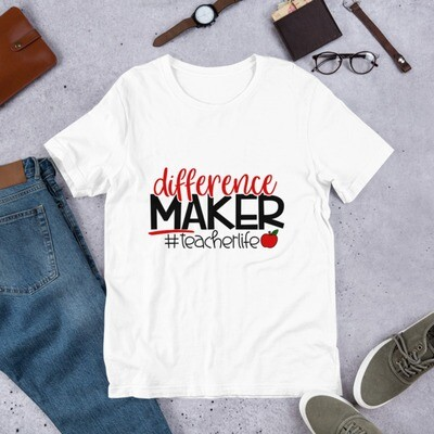 Teacher Life Difference Maker Educator Short-Sleeve Unisex T-Shirt A Touch of Faith