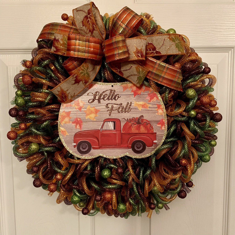 Hello Fall Wreath, Red Truck Door Hanger, A Touch of Faith