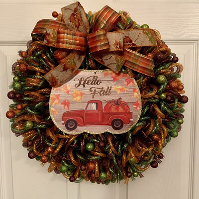 Hello Fall Red Truck Wreath