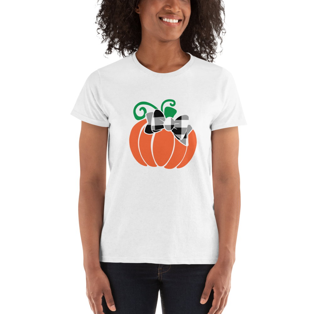 Pumpkin Plaid Bow Short Sleeve Fall Ladies' T-shirt A Touch of Faith