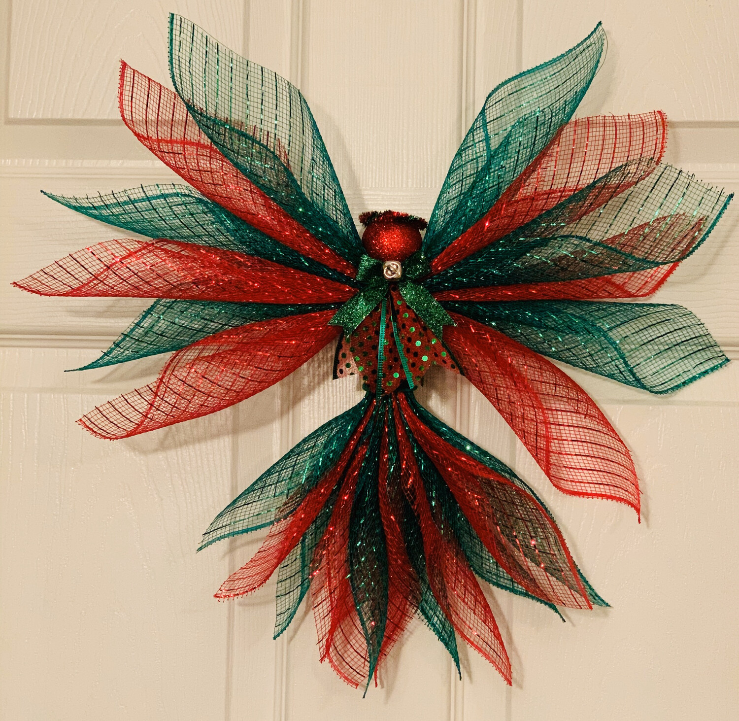 Red Green Christmas Angel, Tree Topper Ornament, XMas Wall Hanging, Holiday Angel Wreath, A Touch of Faith