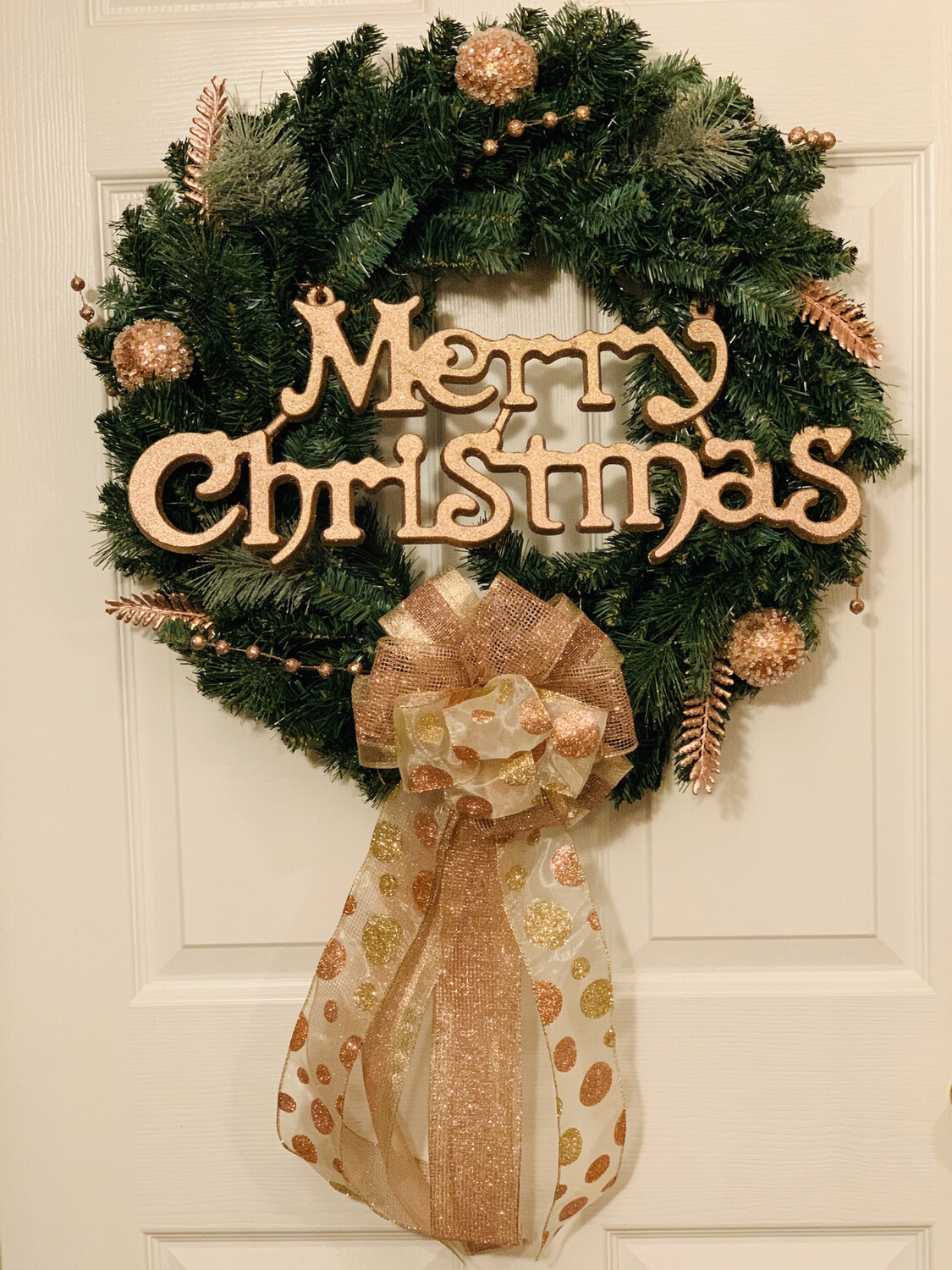 Merry Christmas Rose Gold Evergreen Holiday Ornaments Wreath Christmas Gift A Touch of Faith