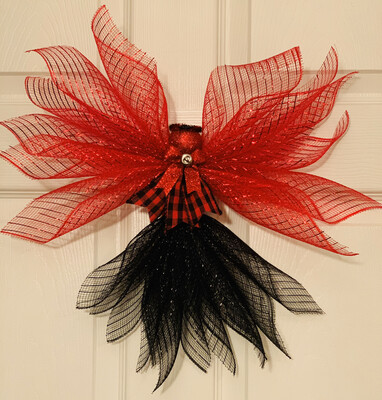 Red Black Buffalo Check Angel Tree Topper, Ornament Wall Hanging, XMas Holiday Angel Wreath, A Touch of Faith