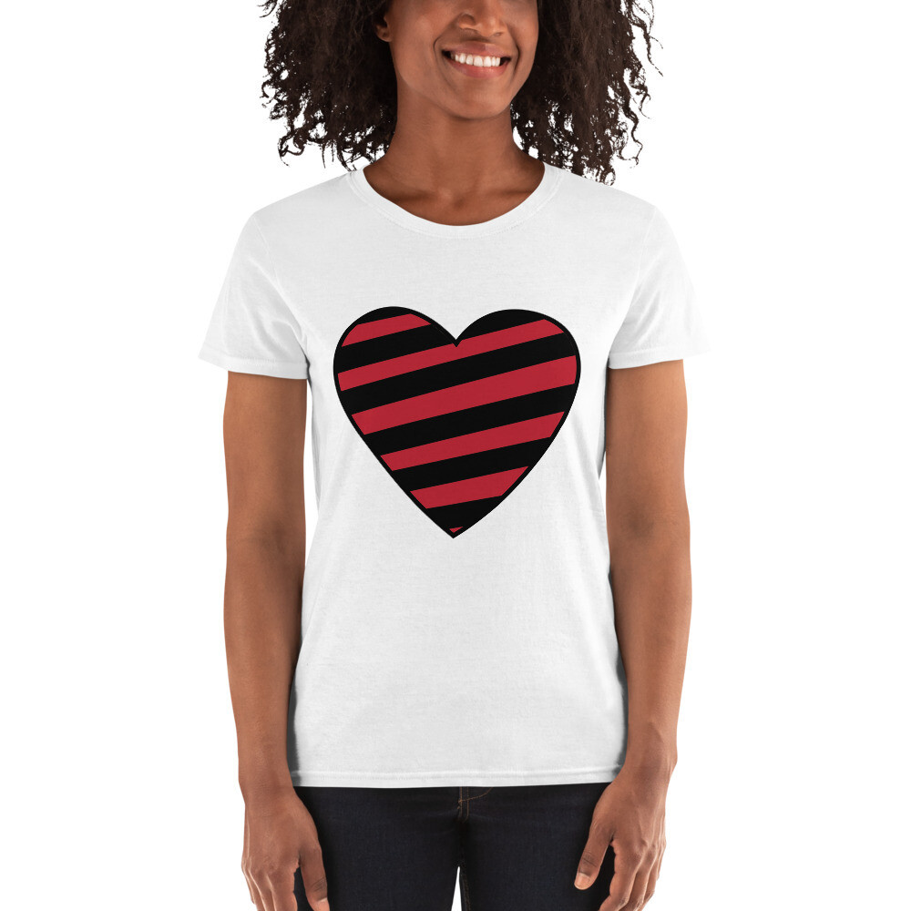 Striped Heart Valentine's Day Wedding Anniversary Love Mrs. Women's Short Sleeve T-shirt A Touch of Faith