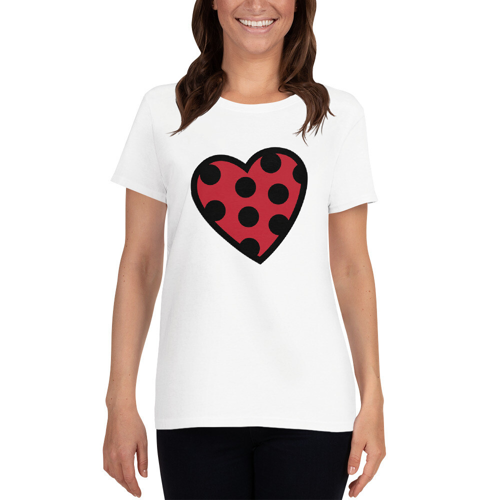 Polka Dots Heart Valentine's Day Wedding Anniversary Love Mrs. Women's Short Sleeve T-shirt A Touch of Faith