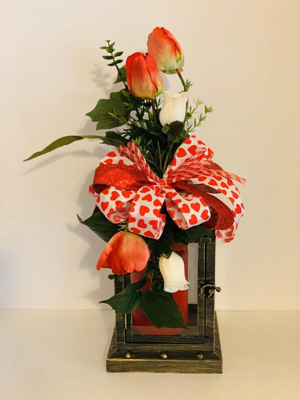 Heartfelt Valentine's Day Lantern Swag Centerpiece Decoration A Touch Of Faith
