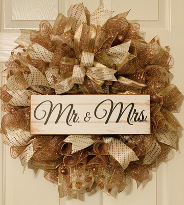 Mr. and Mrs. Bride Groom Wedding Day Anniversary Valentine's Day Wreath A Touch of Faith