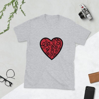 Swirl Heart Valentine's Day Wedding Anniversary Love Mrs. Short-Sleeve Unisex T-Shirt A Touch of Faith