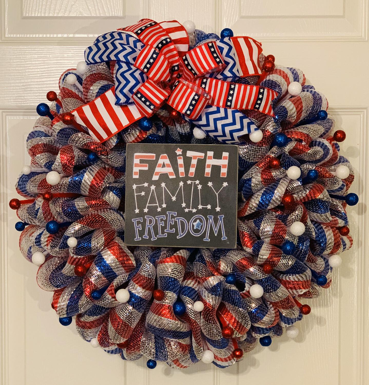 Patriotic Wreath, Faith Family Freedom, 4th of July Decor, Memorial Day Wreath, A Touch of Faith