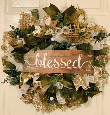 Blessed Inspirations, Garden Themed Decorations, Spring Wreath, Summer Wreaths for Front Door, A Touch of Faith