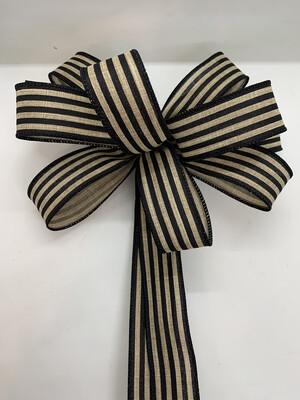 Wreath Bow, Farmhouse Decor, Cabana Striped Bow, Black Beige Stripe Bow, A Touch of Faith