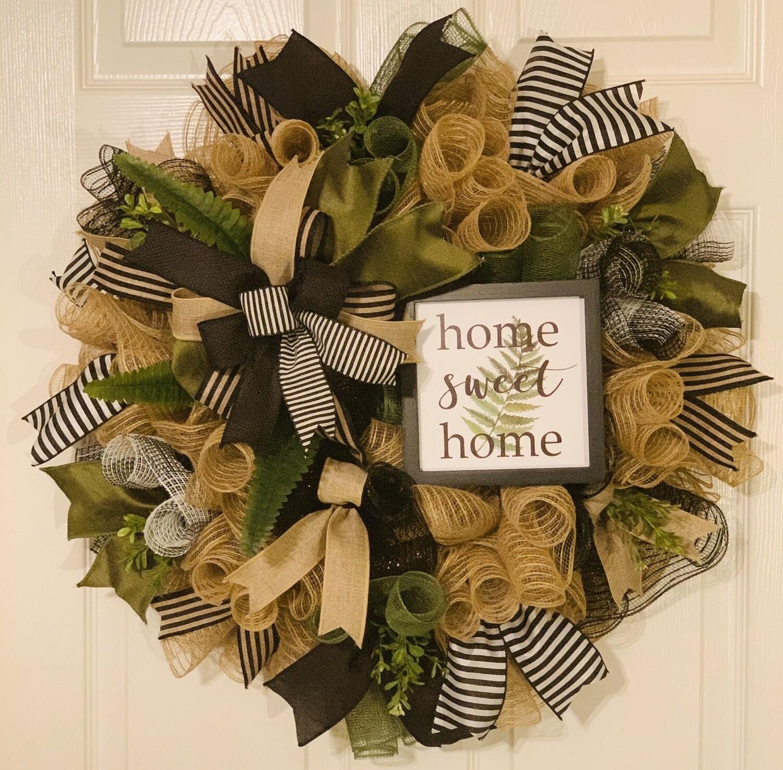Home Sweet Home Wreath, Farmhouse Décor, Boxwood Wreath, Burlap Wreath, A Touch of Faith