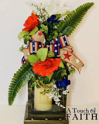 Patriotic Swag Wreath, Patriotic Floral Arrangement, Lantern Swag, Table Centerpiece, A Touch of Faith