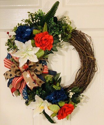 Patriotic Grapevine Wreath, Red White and Blue Wreath, Americana Wreath for For Front Door, July 4th Wreath, A Touch of Faith