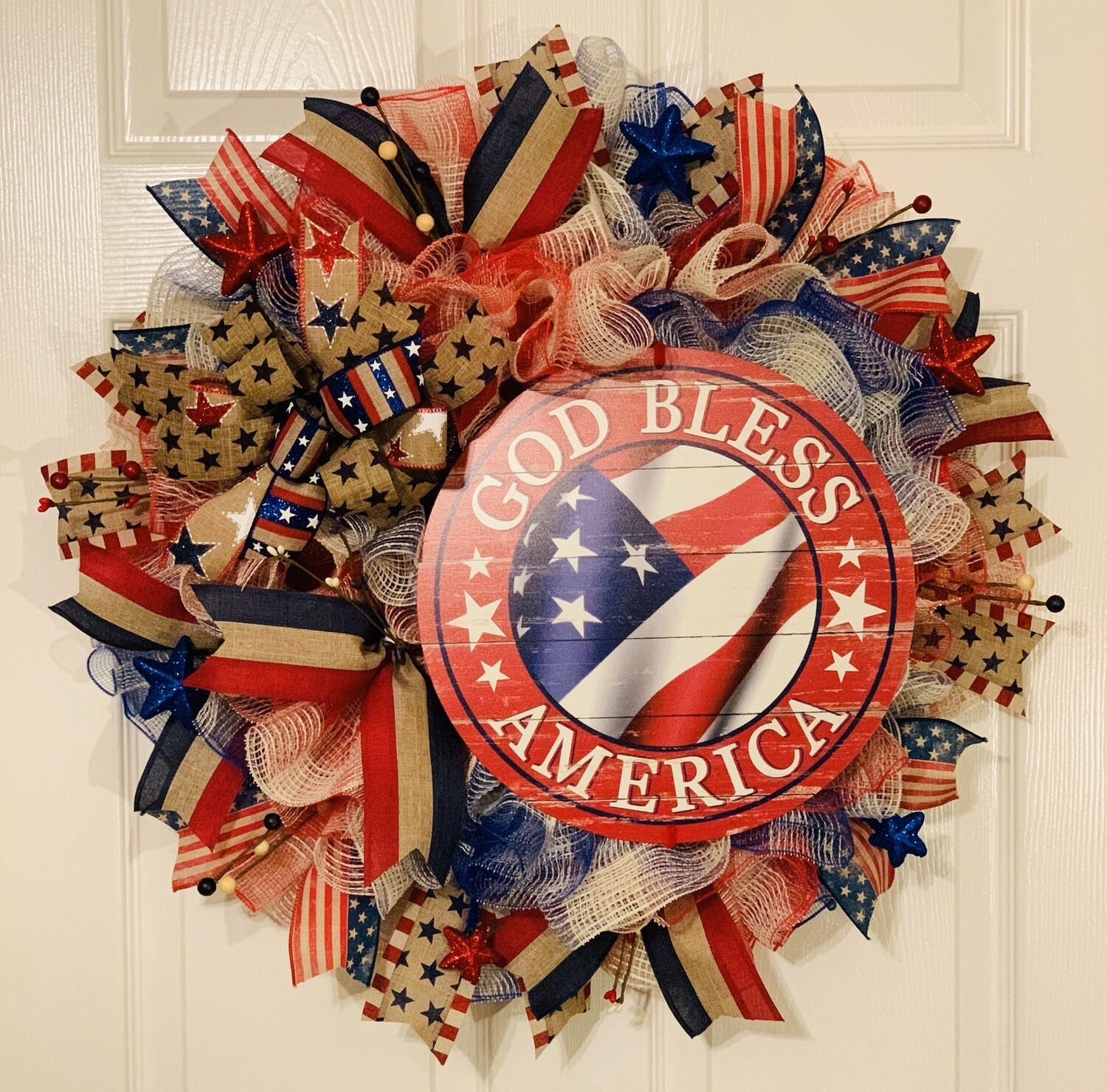 Patriotic Decor, God Bless America Sign, Red White and Blue Wreath, Americana Wreath for For Front Door, July 4th Wreath, A Touch of Faith