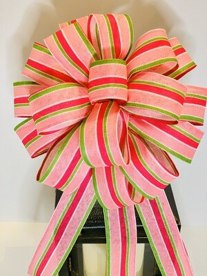 Pink Green Ribbon, Wreath Bows, AKA Decor, Pink Green Room Decor, A Touch of Faith