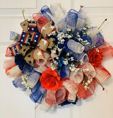 Patriotic Wreath, Pixie Wreath, Red White and Blue Wreath, Americana Wreath for Front Door, July 4th Wreath, A Touch of Faith