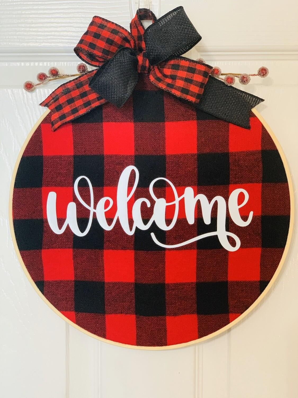 Christmas Hoop Wreath, Buffalo Plaid Décor, Welcome Wreath for Front Door, A Touch of Faith