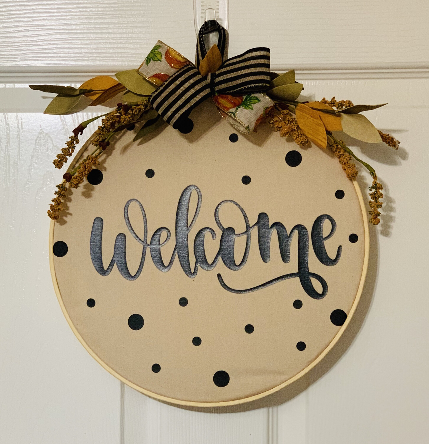 Fall Rustic Khaki Fabric Door Hanger Welcome Hoop Wreath A Touch Of Faith