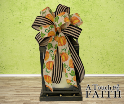 Pumpkin Bow, Pumpkin Decorations, Cabana Stripe Ribbon, Fall Bow for Wreath, A Touch of Faith