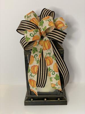 Pumpkin Bow, Pumpkin Decorations, Cabana Stripe Ribbon, Fall Bow for Wreath, A Touch of Faith