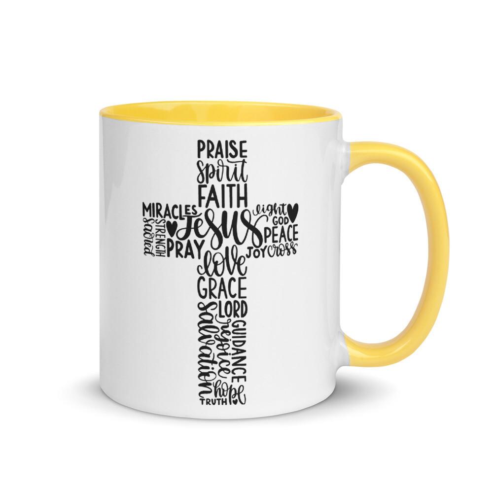 Inspirational Cross Christian Mug with Color Inside A Touch of Faith